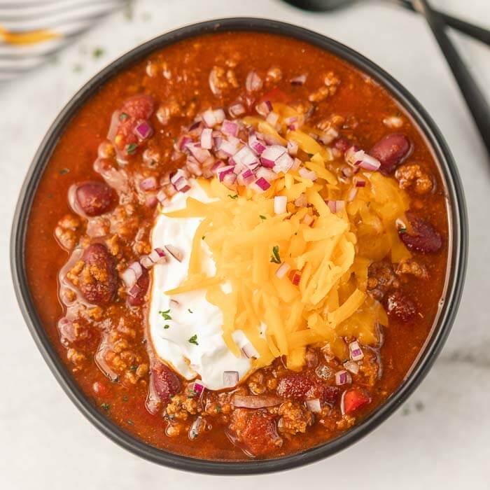 Close up of a bowl of cowboy chili.