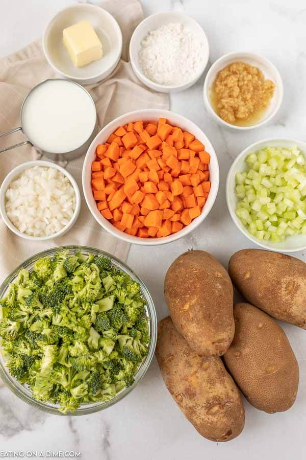 Close up image of ingredients needed for creamy vegetable soup.