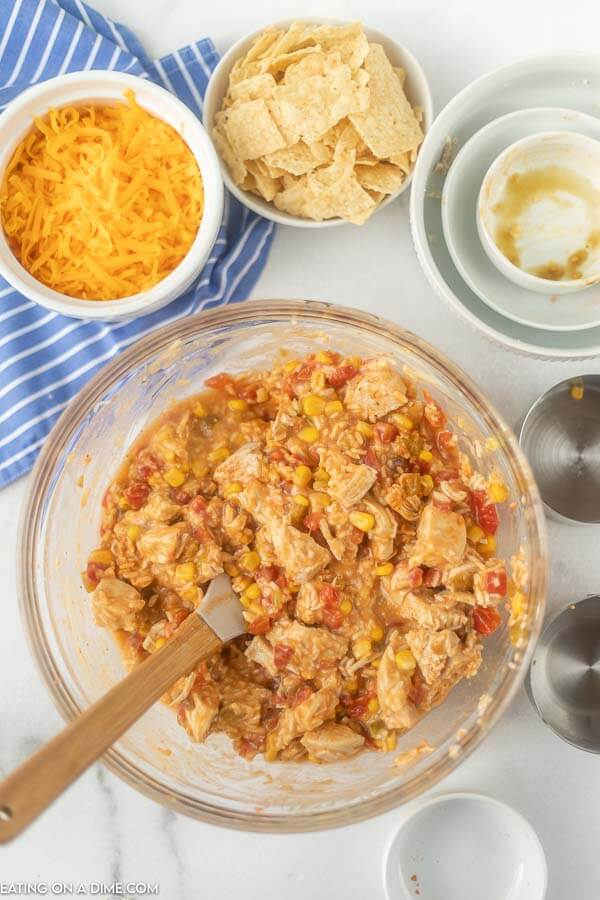 Mixing bowl with chicken and vegetable mixture.