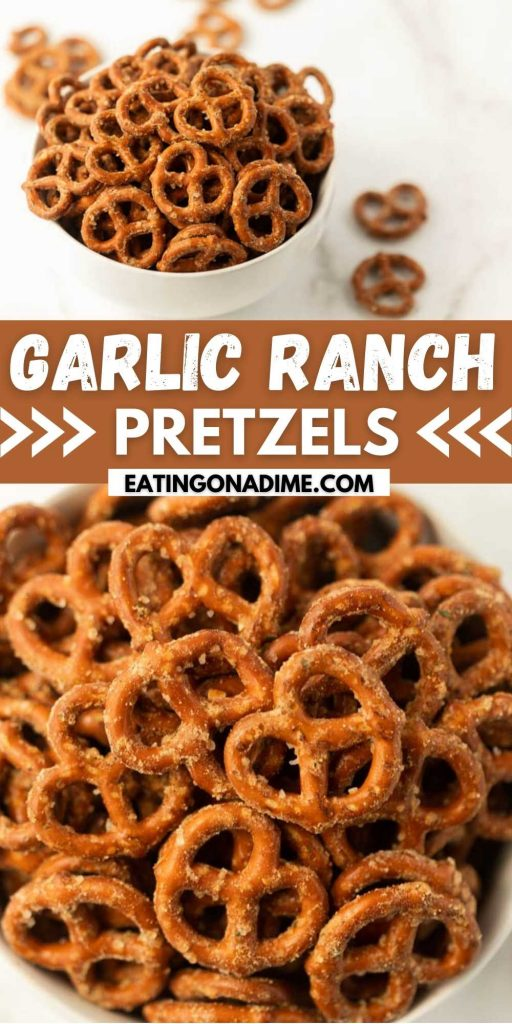 You'll love this Garlic Ranch Pretzel recipe. This quick recipe only requires 4 ingredients and is easy to make in oven. You can also make spicy ranch pretzels with this simple & easy recipe! This is the best appetizer recipe.  #eatingonadime #appetizerrecipes #pretzelrecipes #snackrecipes