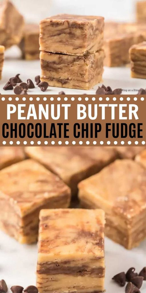You have to try this easy 5 ingredient Peanut Butter Chocolate Chip Fudge Recipe. It is probably the easiest and most delicious Peanut Butter Fudge with chocolate you will try. This peanut butter and chocolate fudge recipes is easy to make and perfect for the holidays! #eatingonadime #fudgerecipes #peanutbutterrecipes #holidayrecipes