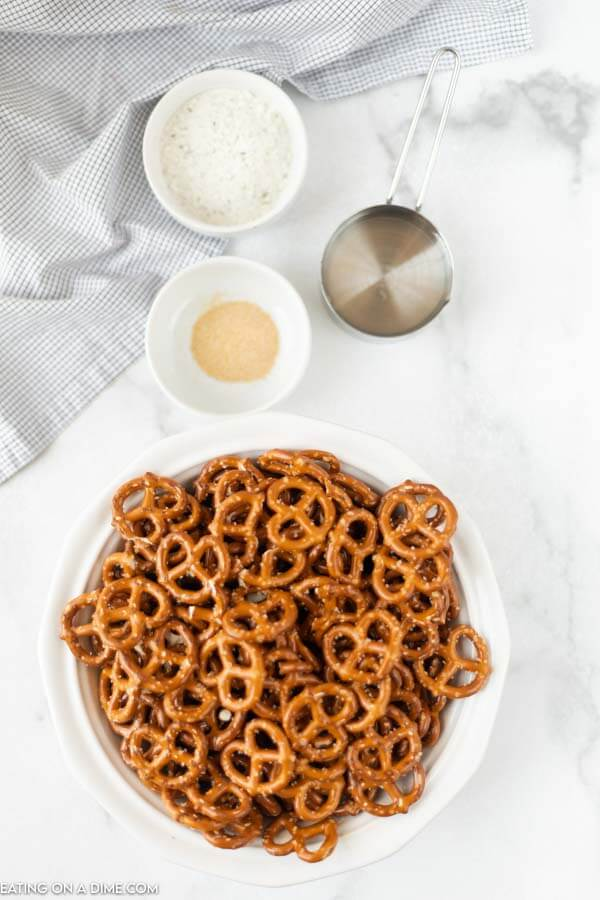 Ingredients to make these ranch pretzels